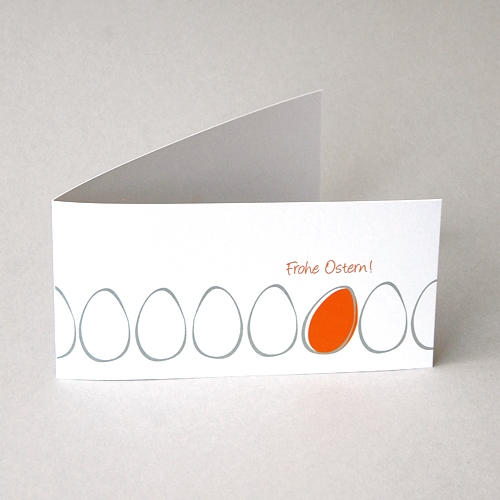 Frohe Ostern! - orange Design-Osterkarte
