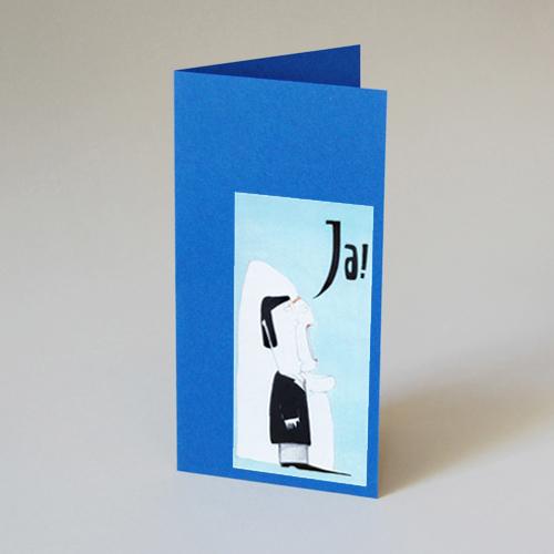 Blaue Cartoon Hochzeitskarten Sara Patriarca Ja