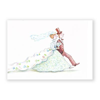 Gezeichnete Hochzeitskarten Tatiana Demidova Brautpaar Mit