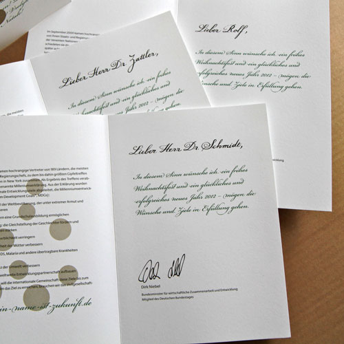 Kalligrafie katrina lange handschriftlich - Personalisierte weihnachtskarten ...