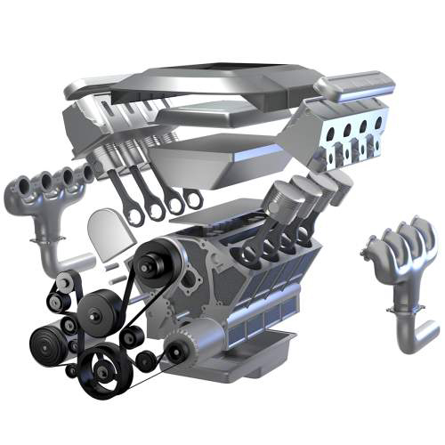 realistische Illustrationen, Tom Steyer: V8-Motor