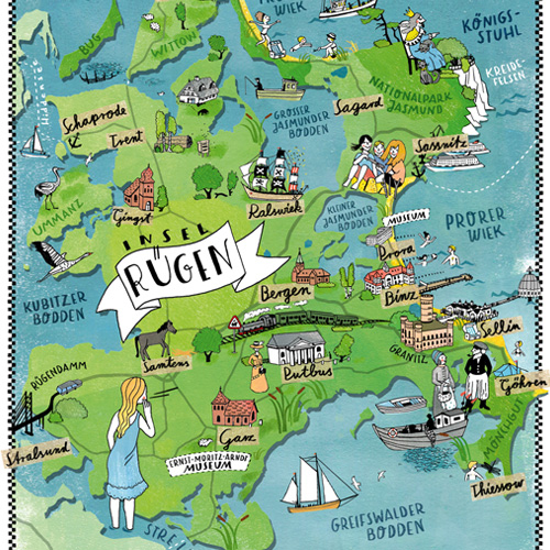 Karte Rügen.Illustrierte Karten Und Stadtpläne Gestaltet Ulrike Jensen