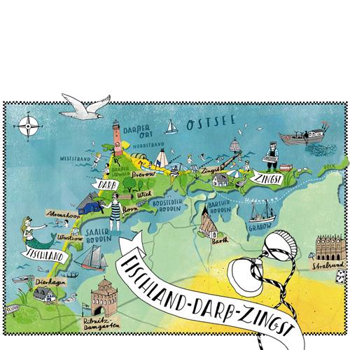 Fischland Darß Zingst Karte.Illustrierte Karte Von Fischland Darß Zingst Die Berliner