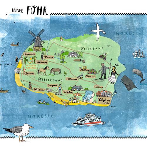 föhr karte Illustrierte Inselkarte von Föhr, die Berliner Illustratorin