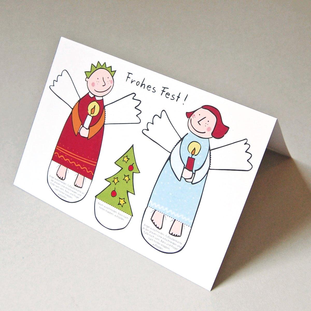 weihnachtskarten zum basteln von zwei engelchen. Black Bedroom Furniture Sets. Home Design Ideas