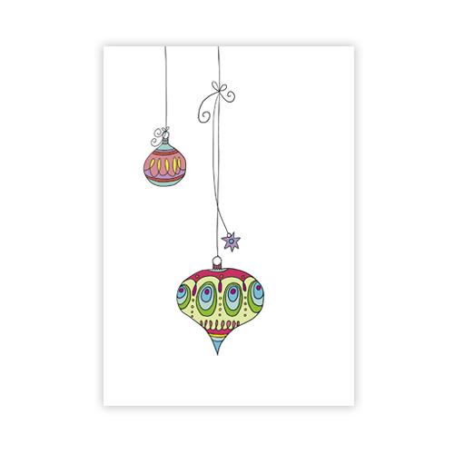 Designer Christbaumkugeln.Weihnachtskarten Zwei Christbaumkugeln