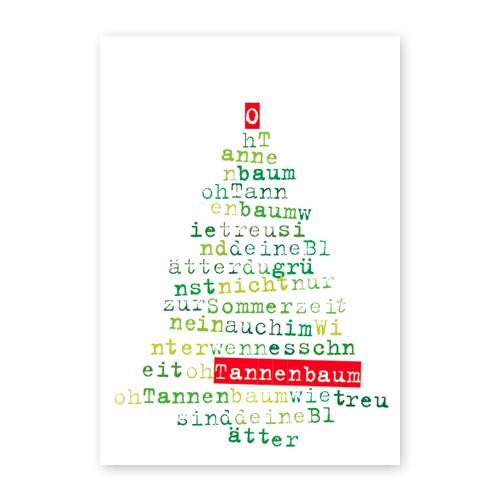 weihnachtskarten mit liedtext und lettering oh tannenbaum. Black Bedroom Furniture Sets. Home Design Ideas
