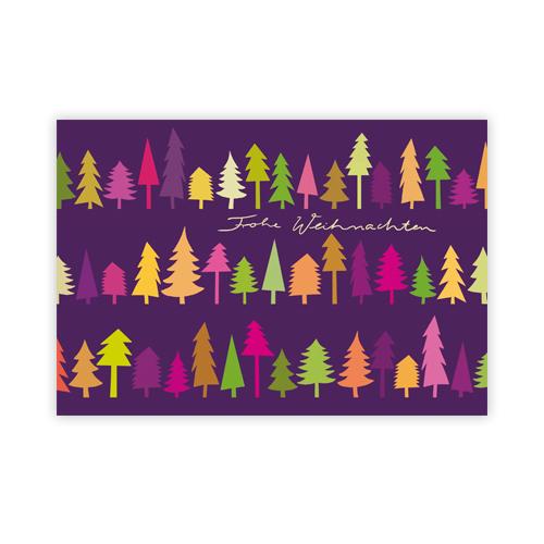 Designer Weihnachtskarten De.Weihnachtskarten Baumreihe Vor Lila Hintergrund