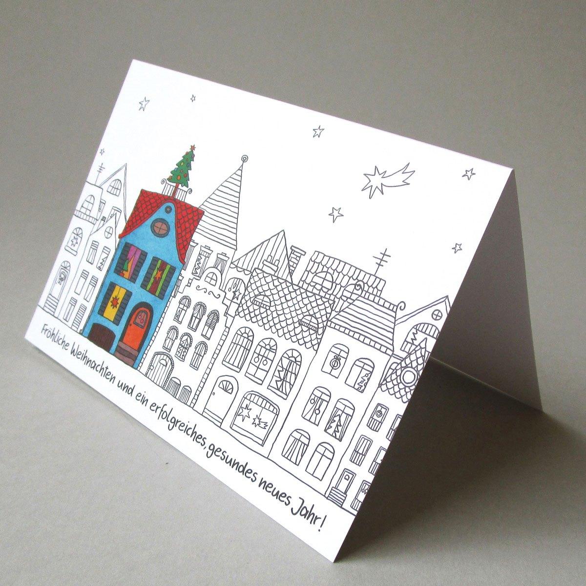 weihnachtskarten f r handwerker buntes haus mit. Black Bedroom Furniture Sets. Home Design Ideas