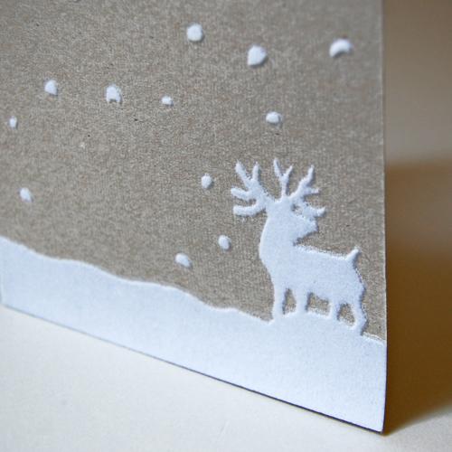 beflockte Weihnachtskarten, Grit May Wolff: Elch im Schnee