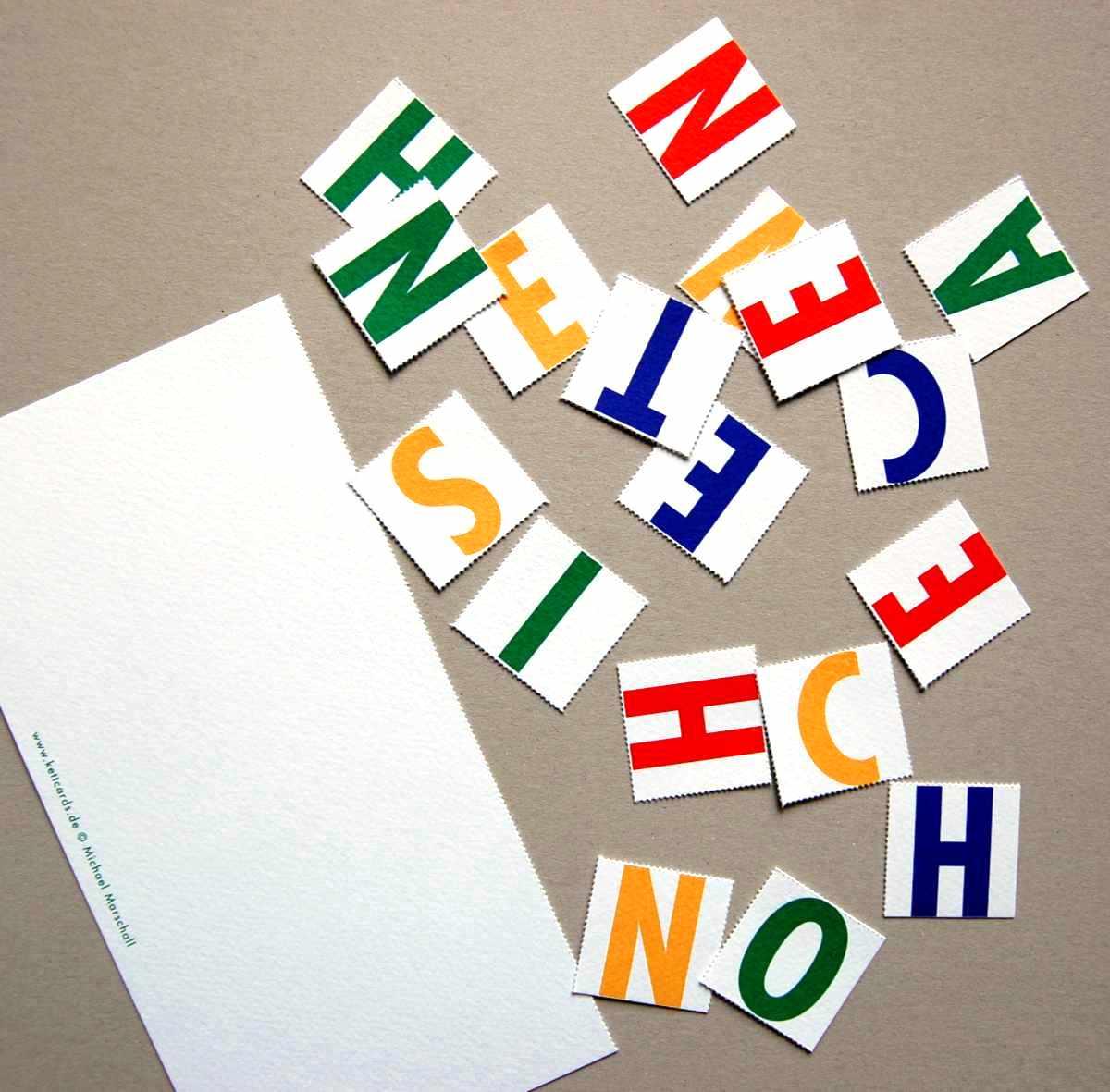Weihnachtskarten mit Buchstaben-Puzzle: SCHOENE WEIHNACHTEN