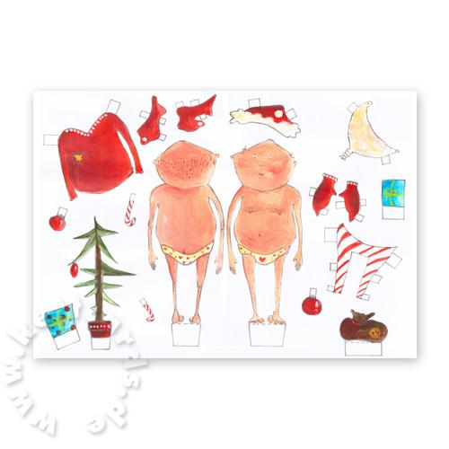Originelle weihnachtskarten weihnachtsmann zum anziehen for Originelle weihnachtskarten