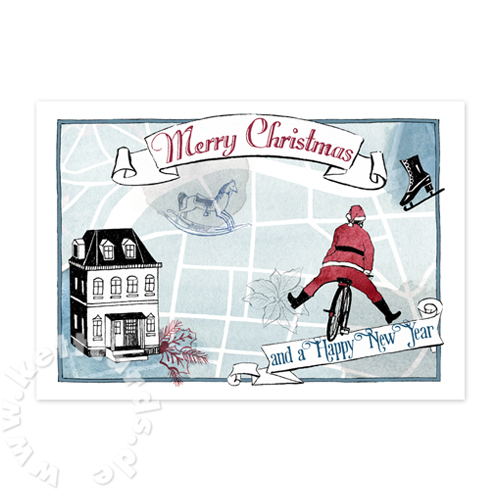 Merry Christmas and a Happy New Year, Christmas Cards with a map