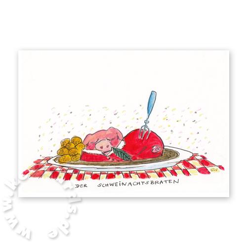 Originelle Weihnachtskarten.Originelle Weihnachtskarten Der Schweinachtsbraten