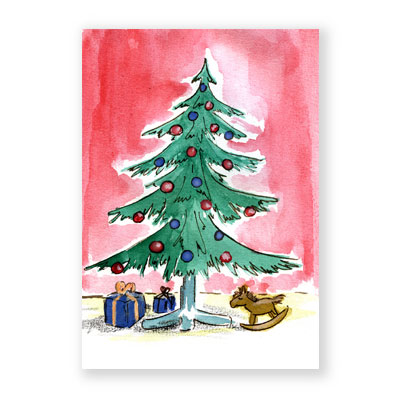 Niedliche weihnachtskarten sonja knyssok weihnachtsbaum mit geschenken - Niedliche weihnachtskarten ...