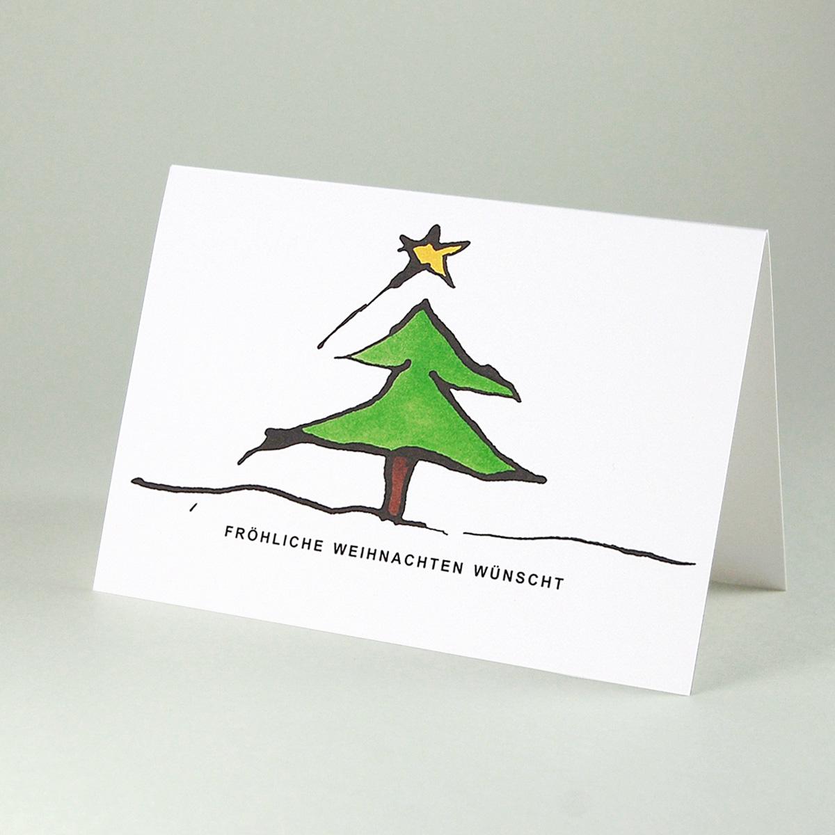 Bedruckte Weihnachtskarten Bestellen.Weihnachtskarten Weihnachtsbaum Mit Schriftzug