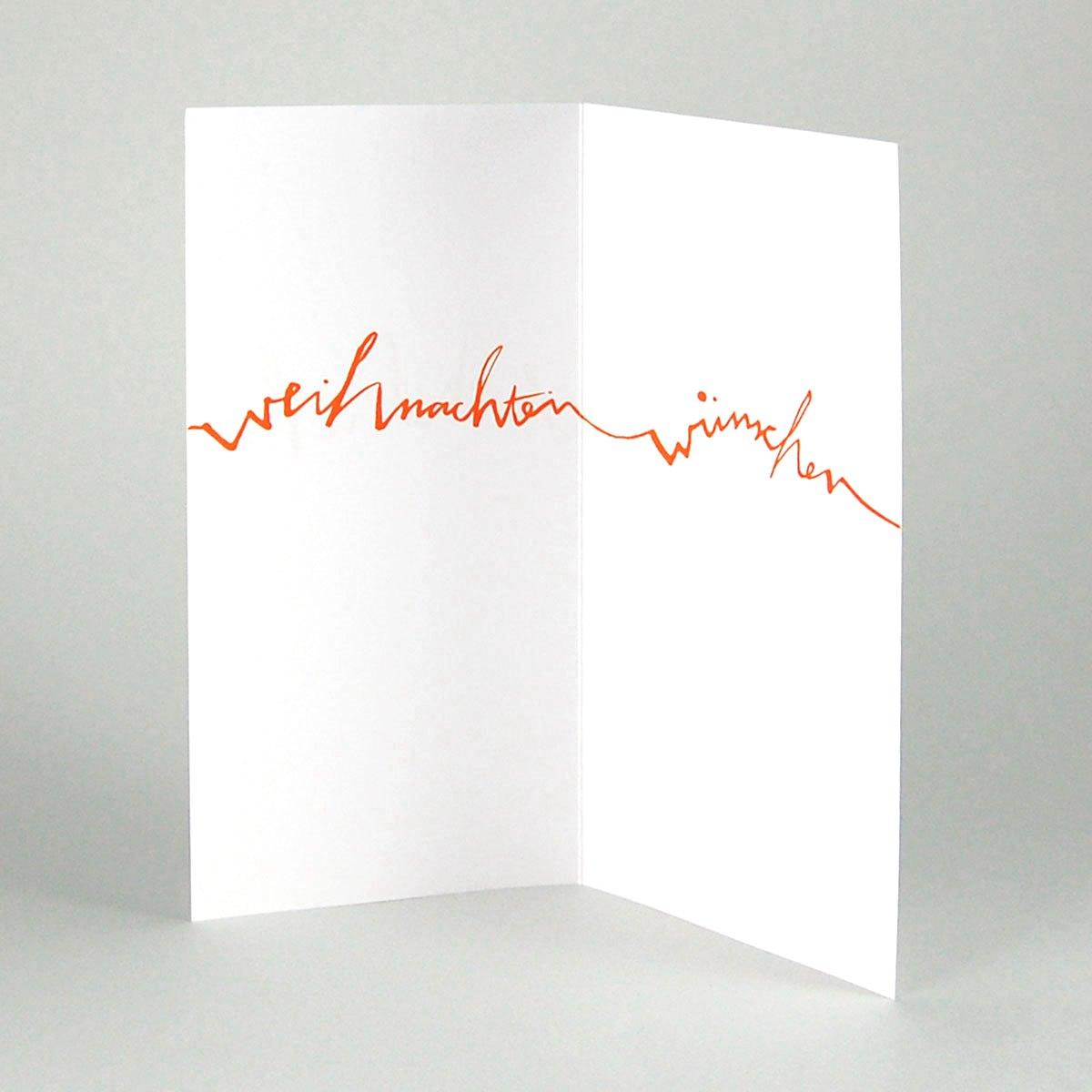 weihnachtskarten mit orangem handlettering fr hliche. Black Bedroom Furniture Sets. Home Design Ideas