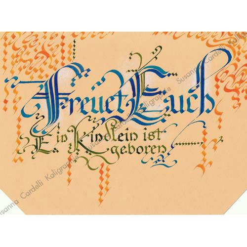 Religiöse Weihnachtskarten.Religiöse Weihnachtskarten Susanna Cardelli Freuet Euch Kalligraphie